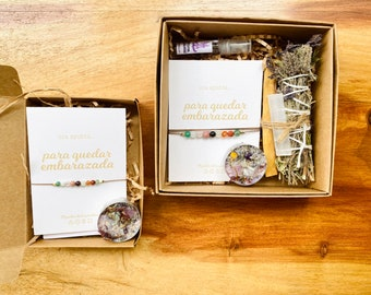 Bracelet of intention to get pregnant - Magic Ritual Kit improve fertility - Candle and bracelet with meaning of stones and crystals