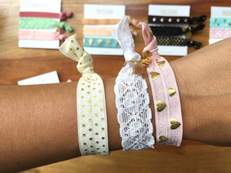 Elastic rubber Bracelets-hair bands with charm -Ideal gift invisible friend guest detail... Farewell various options