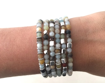 6 faceted amazonite elastic bracelets with silver color beads