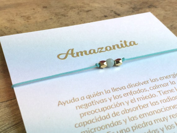 Amazonite bracelet with explanatory card in Spanish or English semi-precious stones various laces and charms to choose from