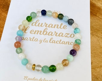 Pregnancy bracelet with intention - energy stones and crystals meaning pregnancy, childbirth, breastfeeding and getting pregnant - Magic ritual