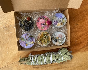 Pack 6 intent candles - love, protection, health, meditation, happiness, anxiety and fear - made with energetic stones, plants...