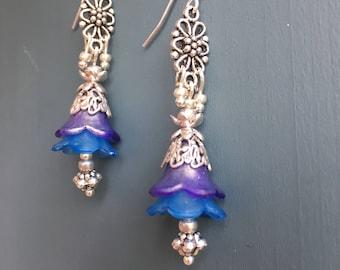 Silver pendant double flower earrings - blue and purple