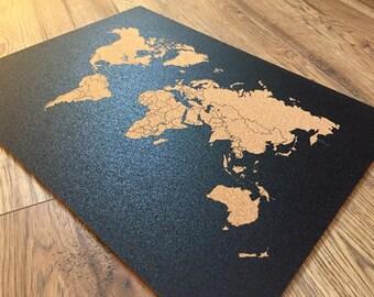 Corkboard map etsy map cork board beautiful decorative 16 x 12 inch world map cork world map worldmap gumiabroncs Gallery