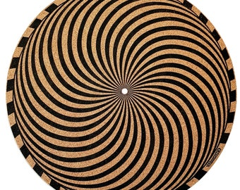 cork slipmat by TAZstudio -Proves Sound Quality With Better Grip And Helps in audio quality Psychedelic geometric storm desing