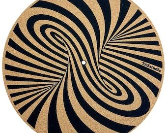 TazStudio Cork slipmat- Turntable Mat for Better Sound Support on Vinyl LP Record Player Original Geometric Design Psychedelic spiral desing