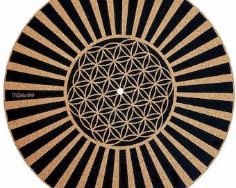 Turntable Slipmat - Cork slipmat - Specially Designed Cork. Psychedelic Geometric Flower Lines