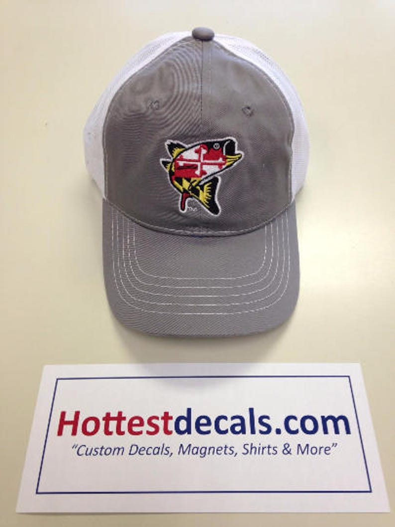 best service 96c6a 6a0bd Maryland Fish Hat GRAY Color Rockfish Stripe Bass Maryland   Etsy