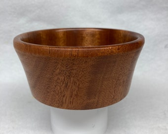 Hand turned magnetic pin bowl-Mahogany with turquoise sand/epoxy interior