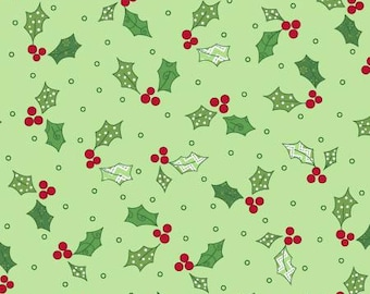 Holly & Berries,  multiple colors (by Kimberbell) priced by the 1/2 yard, cut to order 10148