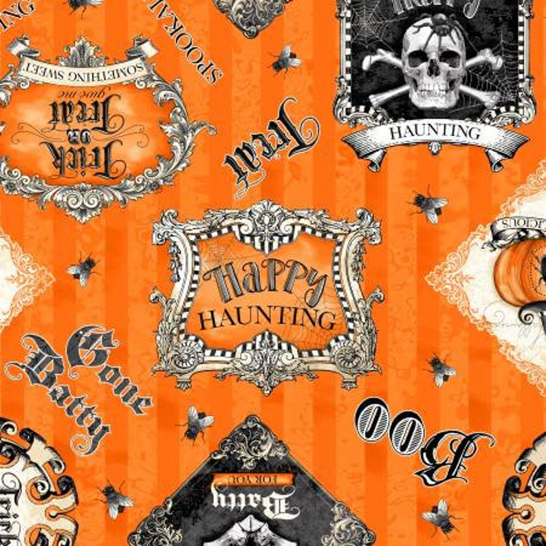 by Lorilynn Simms Collection 20032 Gone Batty Large Allover in Orange /& Black