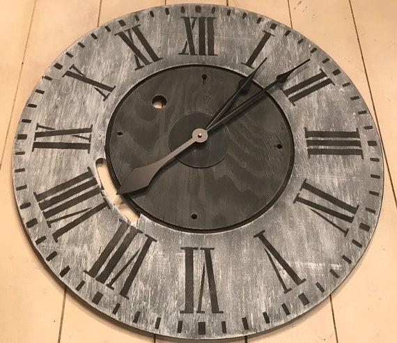 Oversized Wall Clock Rustic Clock Farmhouse Clock Wood Etsy
