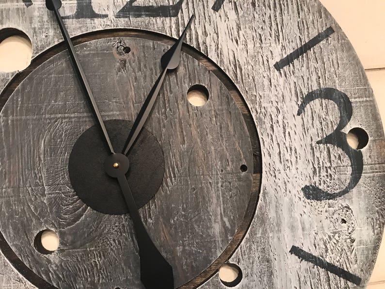 Oversized Wall Clock Rustic Clock Farmhouse Clock Gray image 0
