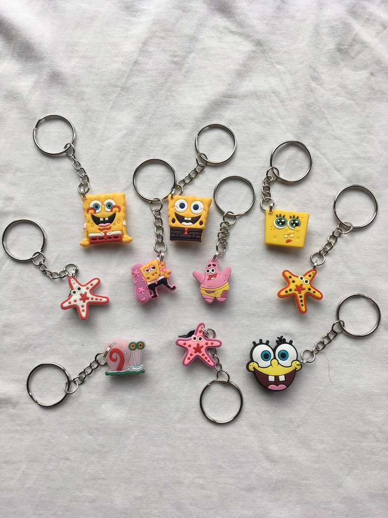 Spongebob Squarepants Keyringskeychains Cartoon Cute Emo Etsy