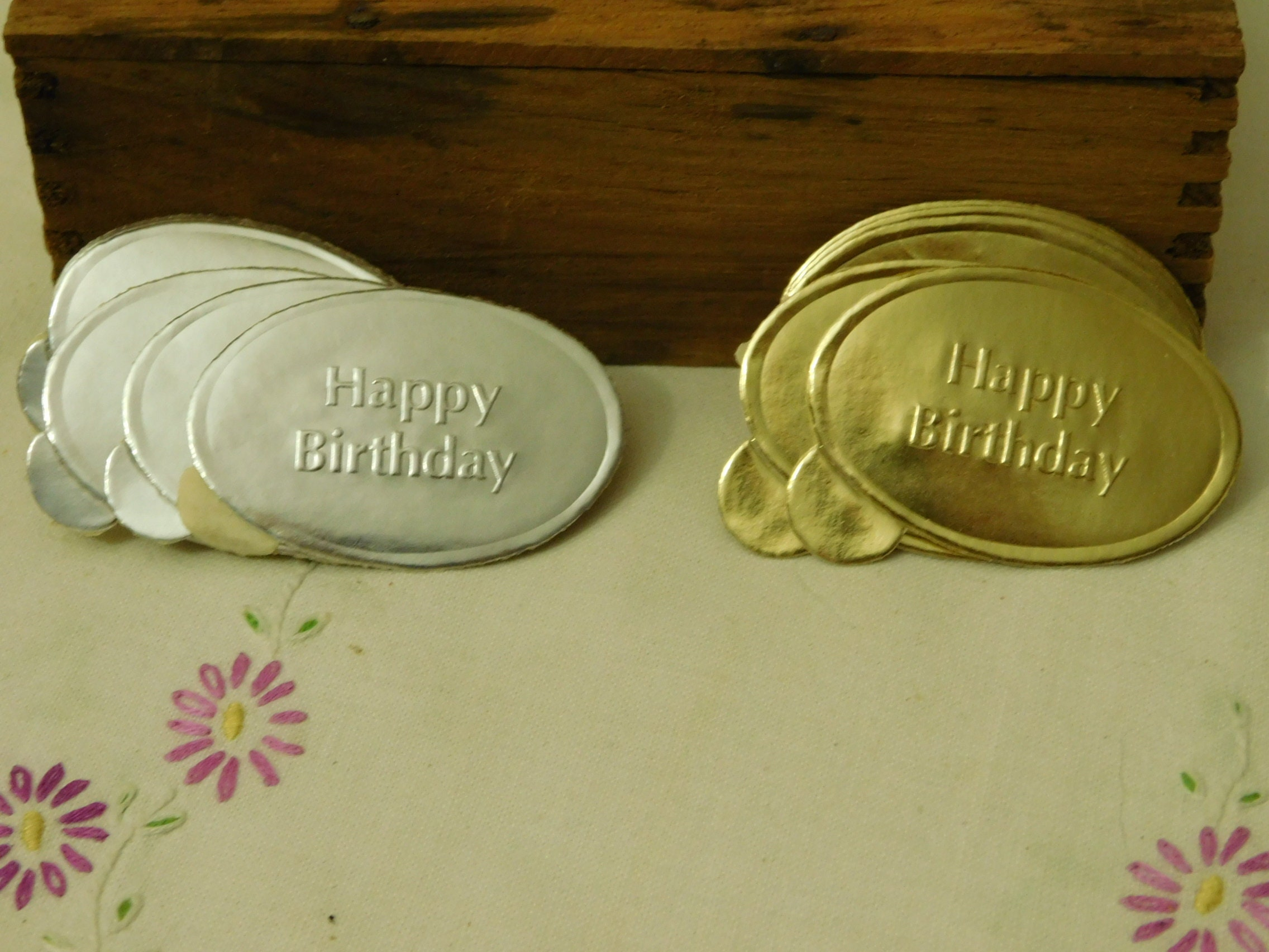 Vintage foil stickers silver and gold happy birthday embossed die cut seals scrapbook material 1950s stickers package decor