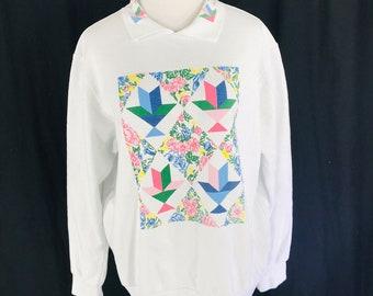 647be86035ece Vintage 80s Blair White Collared Sweatshirt Geometric Quilt Design Sz XL USA