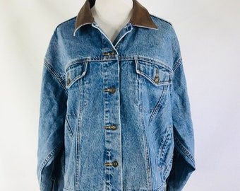 21b837ee2991 Vintage 90s Compagnie Internationale Express Blue Denim Jean Jacket Size  Large Leather Collar