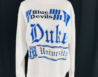 25b36929 Vintage 90s Duke Blue Devils Textured White Sweatshirt Size Large USA NCAA
