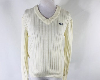 Vintage 70s JCPenney The Fox White Ribbed V-Neck Sweater Size Women s 18 ( Small) a38f57cf4