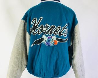 Vintage 90s Charlotte Hornets NBA Wool Blend Varsity Jacket Logo7 Size  Medium 32366e048