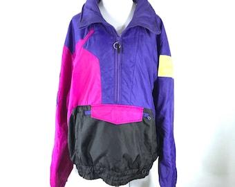 Vintage 80s 90s OBERMEYER Retro Colorblock Quarter Zip Pullover Purple XL 6e9a68a66