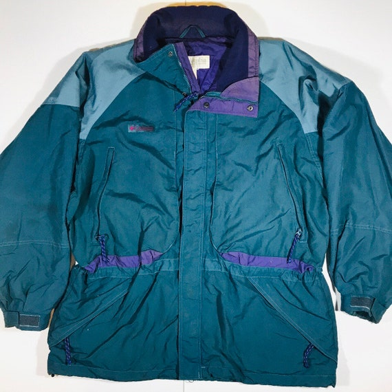 Vintage 90s Columbia Green Purple Parka Ski Jacket Coat Size XL
