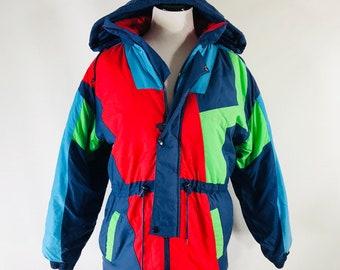 Vintage 90s Max Active Worldwide Bright Colorblock Ski Parka Jacket Womens Large