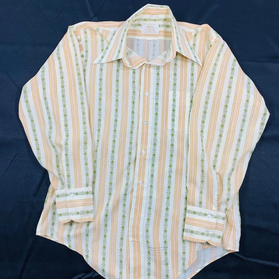 Vintage 70s Arrow Kent Collection Beige Stripe White SS Shirt Size 15.5 Union Made