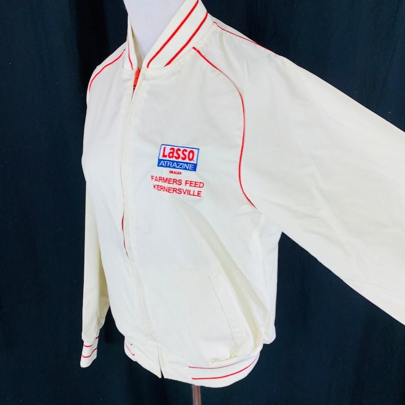 Vintage 80s Lasso Atrazine Beige Windbreaker Jacket Size Medium USA Farmers Feed