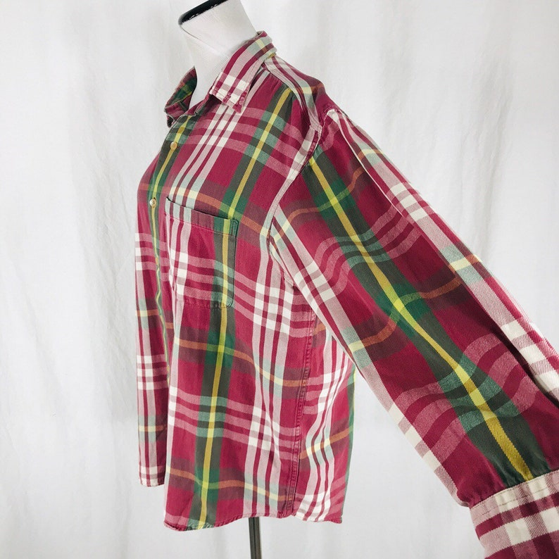 Vintage 90s Banana Republic Red Green Plaid Button Up Shirt Size Large Oxford