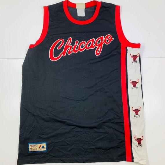 Vintage NBA Chicago Bulls Black Red Majestic Hardw