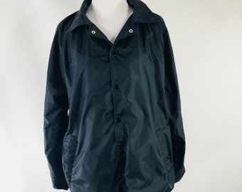 Vintage 90s Ozark Trail Mens Black Lined Nylon Windbreaker Jacket SIze Small
