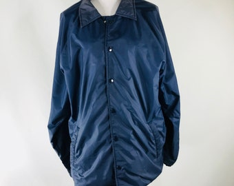 Vintage 80s Rocky Trail Plain Navy Blue Lined Nylon Jacket Normcore Size Medium