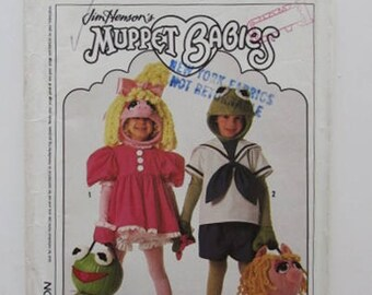 Muppet Baby Miss Piggy and Kermit Halloween Costumes Vintage Simplicity 9346- Uncut OOP Rare & Miss piggy costume | Etsy