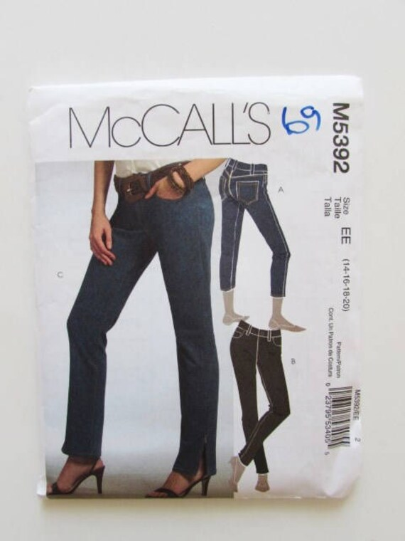 27dd6a5c08c Woman s Straight Leg Jeans Size 14 McCall s M5392
