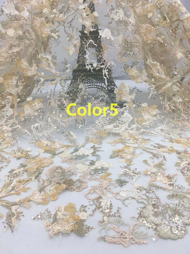 Prom Dress Lace Fabric.Fashion Lace Fabric For Evening Gown Sequin lace fabric. New Style Luxury Embroidered Lace Fabric