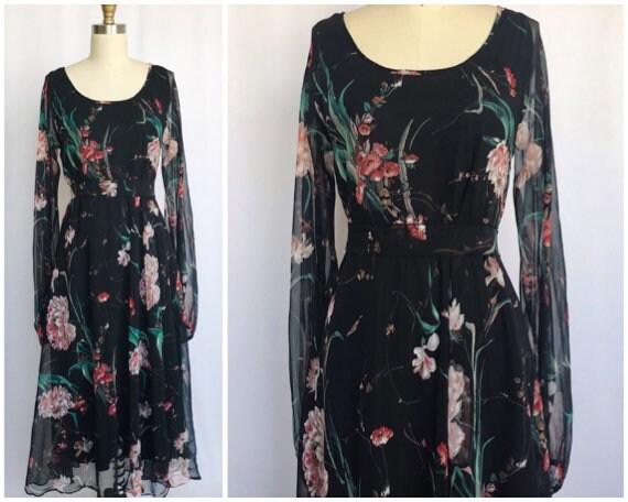 vintage 70s floral kaftan dress / sheer black bohe