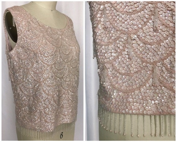 vintage 60s mod party top / 60s pink sequin sleeve
