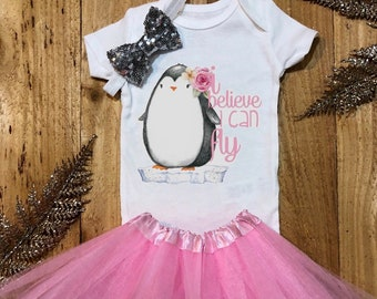 ed09a7f6 Penguin onesie, onesie sets, animal baby onesie, animal onesie, baby girl  outfit, winter baby, baby girl onesie, animal shirt, penguin shirt