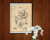 1901 Hieber Antique Barber Chair Patent Print, Barber Art, Barbershop, Barber Gift, Barber Print, Hair Cutting Art, Shave, Barbershop Decor