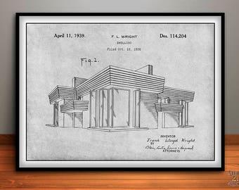 cae854821ba5 1938 Frank Lloyd Wright House Dwelling Patent Print
