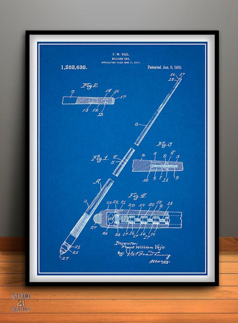 1917 Billiard Pool Cue Patent Print, Billiards, Billiard Parlor Decor, Pool  Table, Billiard Cue, Pool Hall Décor, Cue Stick, Pool Stick