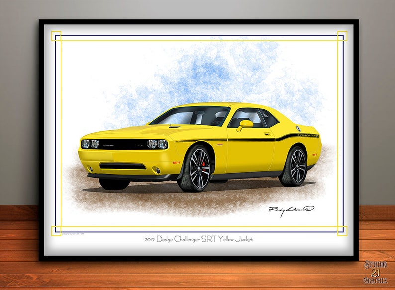 2012 Dodge Challenger Srt Yellow Jacket Art Print Muscle Car Etsy