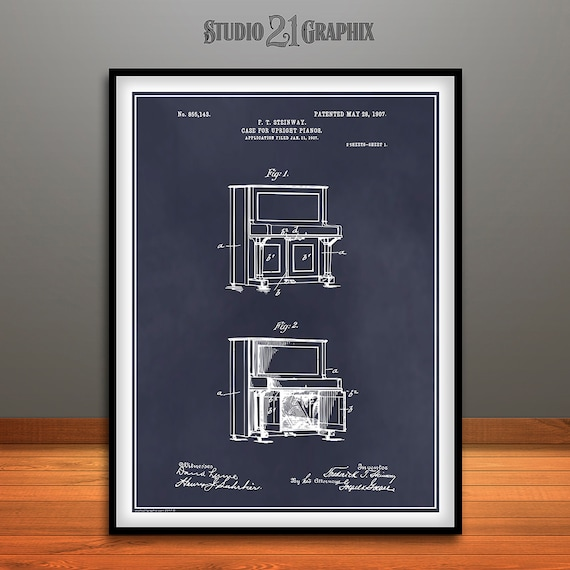 1907 Steinway Upright Piano Patent Print Art Drawing Poster 18 X 24