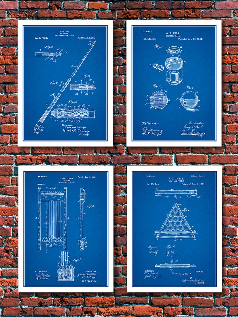 Billiards Set Of 4 Patent Prints, Billiard Parlor Decor, Billiards Gift,  Billiard Cue, Pool Hall Décor, Cue Stick, Pool Ball, Rack, Cue Rack