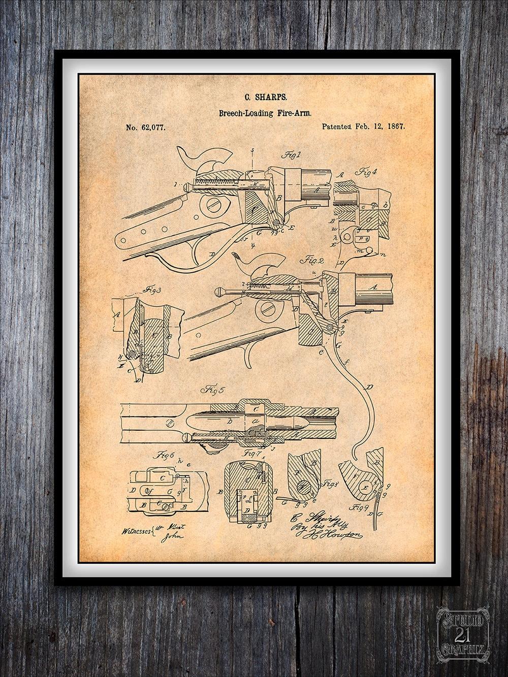1867 Sharps Breech Loading Rifle Patent, Sharps Poster, Sharps Rifle, Civil  War Rifle, Western Art, Marksman Gift, Sharpshooters, Military
