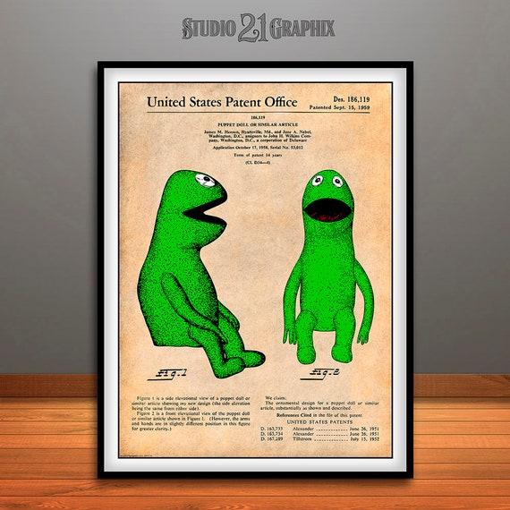 Nursery Wall Art Frog Art Kids Room Childs Room Art Kermit The Frog Jim Henson Muppet Patent Print Puppet Miss Piggy Muppet Art