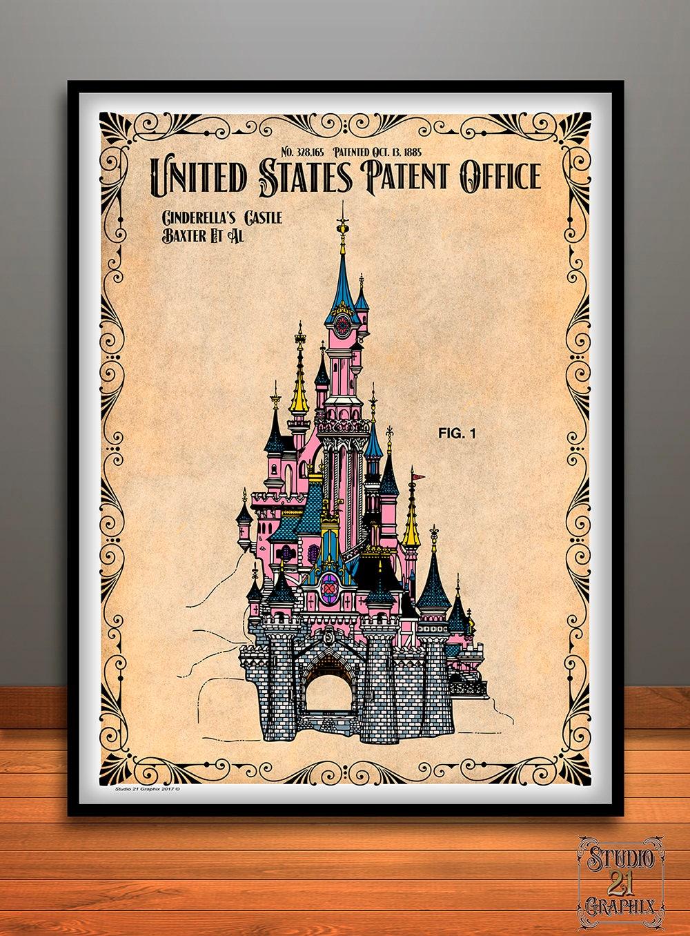 Disney Cinderella\'s Castle Colorized Patent Print Magic | Etsy