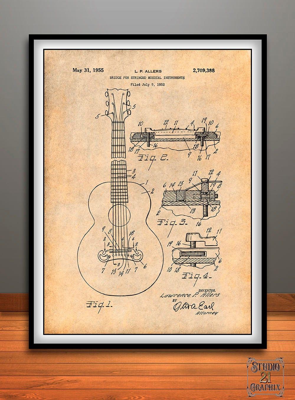 1952 Gibson Guitar Bridge Patent Print, Guitar Art, Guitar Player Gift,  Acoustic Guitar, Musician Gift, Music Room Decor, Guitarist Gift