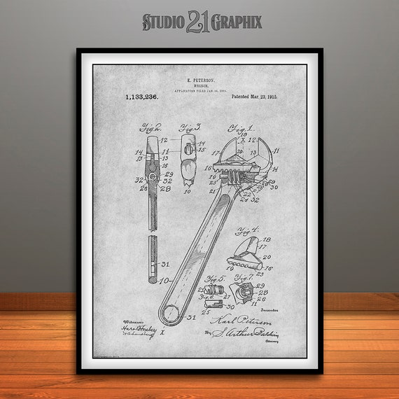 1915 Peterson Adjustable Wrench Patent Print Art Drawing Poster 18X24